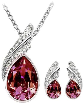 Etnico Silver Plated Designer Pendant Set with Earrings for Women