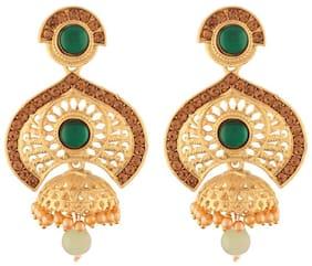 Etnico Traditional Gold Plated Stone Studded & Pearl Jumki Earrings For Women