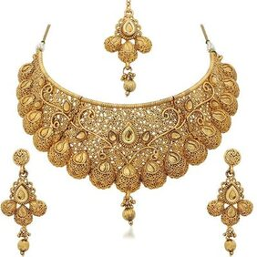 Etnico Traditional Gold Plated Kundan Choker Necklace Set For Women