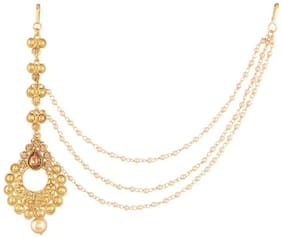 Etnico Traditional Gold Plated Pearl with Hair Chain Maang Tikka for Women