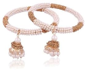 Etnico Traditional Gold Plated Pearl Bangles for Women