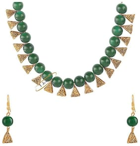 Etnico Traditional Gold Plated Pearl Necklace Set with Earrings For Women