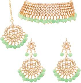 Etnico Traditional Kundan & Mint Pearl Choker Necklace Set For Women