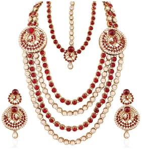 Etnico Traditional Gold Plated Wedding Bridal Set with Damini for Women IJ219M