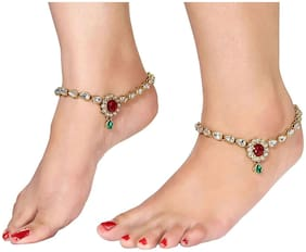 Etnico Traditional Gold Plated Anklets For Girls & Women
