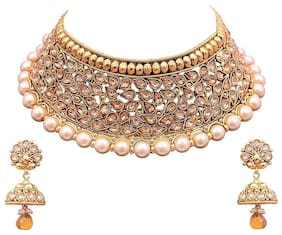 Etnico Traditional Gold Plated Pearl Necklace Set with Jhumki Earrings For Women