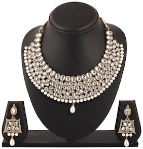 Etnico Traditional Kundan & Pearl Necklace Set For Women
