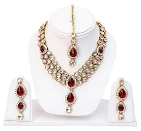 Etnico Traditional Gold Plated Kundan Necklace Set for Women
