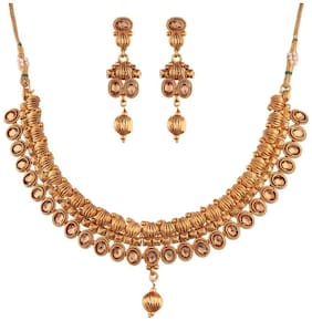 Etnico Traditional Gold Plated Copper Choker Necklace Set with Earrings For Women