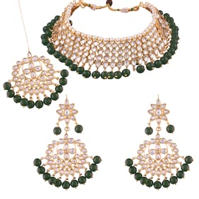 Etnico Traditional Kundan & Green Pearl Choker Necklace Set For Women