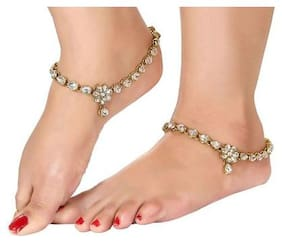 Etnico Traditional Gold Plated Kundan Anklets for Girls & Women (A020W)