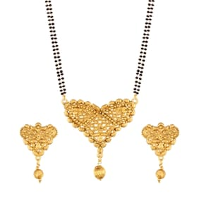 Etnico Traditional Ethnic One Gram Gold Plated Mangalsutra Jewellery set with Earrings for Women D057