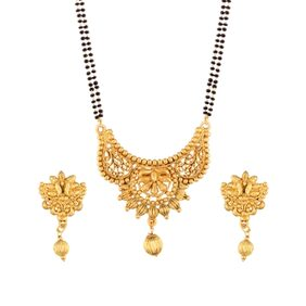 Etnico Traditional Ethnic One Gram Gold Plated Mangalsutra Jewellery set with Earrings for Women D051