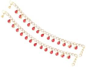 Etnico Traditional Gold Plated Anklets For Girls & Women A008R
