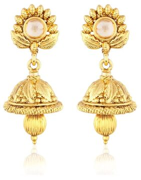 Etnico Traditional Gold Plated Jhumki Earrings for Women ES102 (Gold)