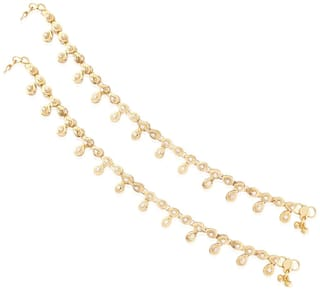 Etnico Traditional Gold Plated Anklets For Girls & Women A010FL