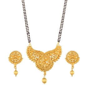 Etnico Traditional Ethnic One Gram Gold Plated Mangalsutra Jewellery set with Earrings for Women D058