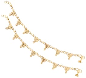 Etnico Traditional Gold Plated Anklets For Girls & Women A012LW