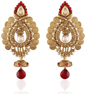 Etnico Traditional Gold Plated Temple Jhumka Earrings for Women E2240R (Red)...