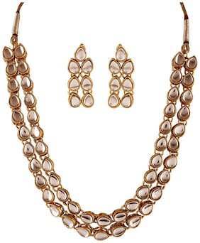 Etnico Traditional Gold Plated Jewellery Set for Women IJ285W (White)