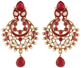 Etnico Traditional Gold Plated Elegantly Handcrafted Kundan;Pearl & Stone Earrings for Women E2277Q (Rani/Dark Pink)...