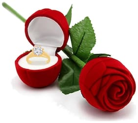 Etnico Valentines Day Gift Hamper of Gold Plated Ring with Red Rose Gift Box for Girlfriend/Gift for Her/Gift for Valentine/Gift for Girl