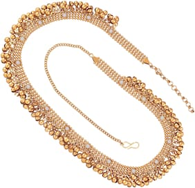 EtnicoTraditional Gold Plated Stone Studded Kamarband for Women