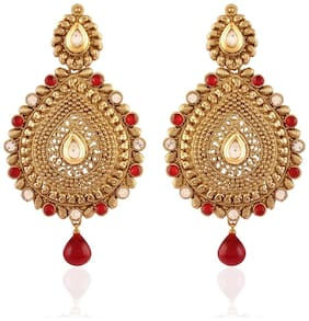Etnioc Traditional Gold Plated Temple Earrings for Women E2243R (Red)...