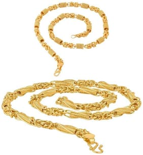 Ever Shine Gold Plated Combo of Round Cut and New Designer Chain for Men & Boys