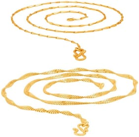 Ever Shine Stylish Combo of Gold Plated Italian and Disco Chain for Men and Women.