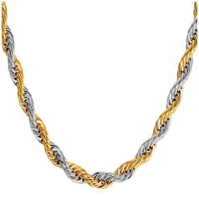 Exclusive Statement Two- Tone Plated Stainless Steel Rope Chain For Men & Boys