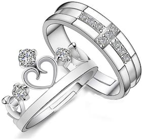 Extraordinary Sterling Silver Swarovski Elements Adjustable Couple Rings