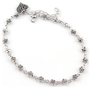 Fabula Jewellery Antique Silver Heart Bohemian Cocktail Beach Party Anklet (Single Piece)