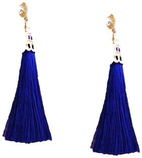 Fabula Jewellery Blue Tassel Drop Fashion Earrings For Women & Girls True Tassel Collection