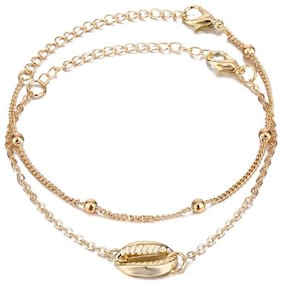 Fabula Jewellery Gold Tone Multi Layer Sea Shell Beach Fashion Anklet (Single Piece) For Women & Girls