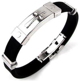 Fabula Jewellery Black & Silver Stainless Steel Jesus Cross Wrap Bracelet for Men & Boys