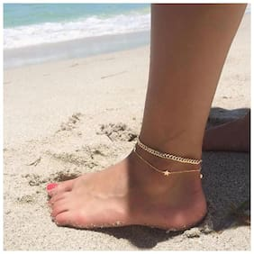 Fabula Jewellery Gold Tone Multi Layer Minimal Anklet