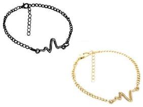 Fabula Jewellery Gold & Black Heartbeat Combo of 2 Couple Fashion Bracelet for Women & Men