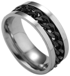 Fabula Jewellery Silver & Black Tough Dude Chain Stainless Steel Band Fashion Ring for Men & Boys