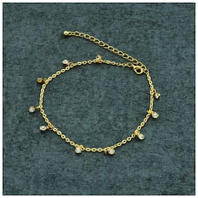 Fabula Jewellery Gold Stone Delicate Anklet For Women & Girls Astral Fine Jewels Collection