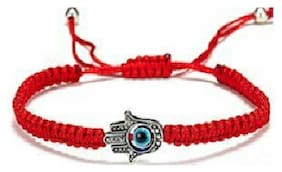Fabula Jewellery Red Braided Fatima Hamsa Evil Eye Good Luck Charm Fashion Bracelet for Men & Boys