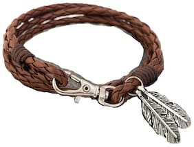 Fabula Jewellery Tan Brown Braided Leather Multi Strand Wrap Bracelet with Silver Leaf Beads for Men & Boys
