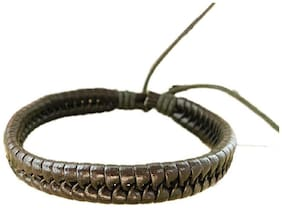 Fabula Jewellery Dark Brown Braided Leather Handmade Wrap Bracelet For Men & Boys