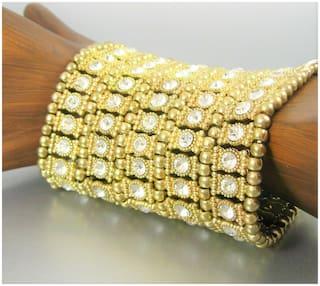 Faceted Rhinestone Metal Beads Charm Stretch Fashion Bracelet Statement