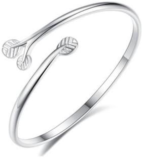 Fancy Stylish leaf Kada sterling Silver Bracelet For Women & Girls