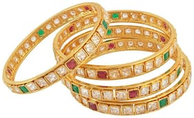 Fashion For Sure Gold Brass Bangle Set for Women - Set of 4 (Size: 2.6, B44)