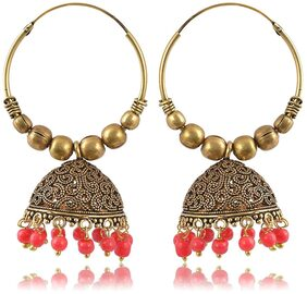 Fashion For Sure Gold and Peach Oxidized Silver Jhumki Earrings for Women (E224)