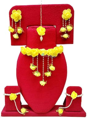 Fintan Handmade Yellow Gota Patti Necklace, Earrings, Bracelet & Maang Tika For Women & Girls (Mehandi/Haldi)