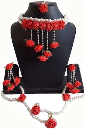 Fintan Handmade Red Flower Gota Patti Jewellery With Necklaces Earrings Bracelets And Maang Tika For Girls And Women