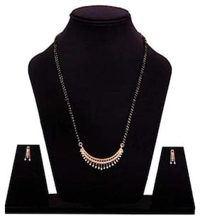 Foxy Trend American Diamond Gold Plated Latest Design Mangalsutra With Earrings For Woman